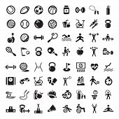 stock photo of barbell  - 64 Fitness and Sport vector icons for web and mobile - JPG