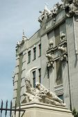 Closeup Of House With Chimeras, Famous Architectural Landmark Of Kiev, Ukraine