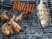 Mixed Meat On Barbecue