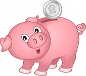 Illustration of a Piggy Bank with coin