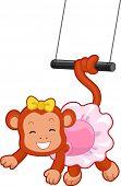 Cartoon-Illustration eines Zirkus-Affen mit Schwanz gewickelt auf einem fliegenden Trapez
