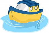 Illustration of a Yellow and Blue Toy Boat on Water