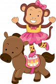 Cartoon Illustration of Circus Monkey Balancing on the back of a Horse