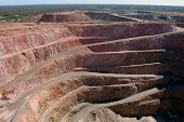 picture of open-pit mine  - Gold mine open pit at Cobar town Australia - JPG