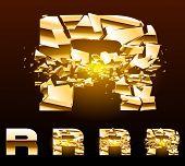 Un vector cartas de juego de un alfabeto de oro roto. Símbolo r