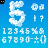 Vector illustration of cloud alphabet on a blue sky background. Font with serifs Glyphs
