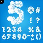 Vector illustration of cloud alphabet on a blue sky background. Bold font Glyphs