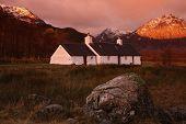 Black Rock Cottage, Rannoch Moor, Scottish Highlands At Sunrise, Horizontal