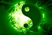 stock photo of karma  - yin yang sign on a vivid background - JPG