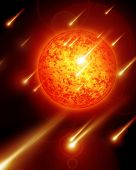 stock photo of meteoric rain  - meteor shower and sun with solar activity in outer space - JPG