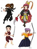 stock photo of martial arts girl  - Warriors girl from various culture set 3 create by vector - JPG