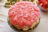 stock photo of ice-cake  - Large cake with pink and white roses and sugar drops - JPG