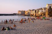 Cefal� beach at sunset