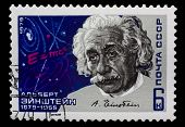 Postage Stamp With A Portrait Of Albert Einstein