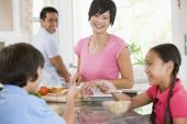 stock photo of healthy eating girl  - childrenbreakfastEating Family Food Healthy Eating mealmealtime Smiling 11 Year Old 30s Asian Boys Brother Caucasian Child Chinese Color Colour Cutlery Daughter Enjoying Father Four People Girl Happy Holding Home Horizontal Image Indoors Inside Man mealme - JPG
