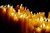 stock photo of candle flame  - Candles at night - JPG