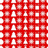 Christmas Seamless Pattern.new Year Background.white Christmas Symbols On A Red Background.vector