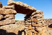 Ancient megalithic Serra Orrios Nuragic Village in Sardinia, Italy
