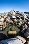 Summer landscape of sea coast. Japan sea. Fish-eye lens.