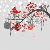 A winter branch with a bird and falling snow. Red and Grey colors