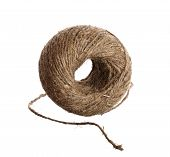 stock photo of hasp  - Hemp twine hank isolated on a white background - JPG