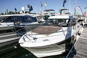 Norwalk, USA - September 19, 2013: Boat showing at the Norwalk boat show on September 19, 2013 in Norwalk, CT, USA.