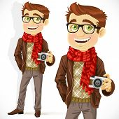 Hipster guy wearing a scarf and with a camera
