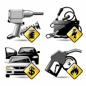stock photo of auto repair shop  - Set of vector automobile service and repair related icons 2 - JPG