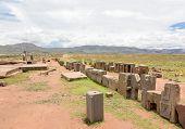 Panorama of megalithic stone complex Puma Punku