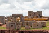 stock photo of pumapunku  - Megalithic stones with intricate carving in the ancient complex Puma Punku - JPG