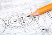 stock photo of mechanical drawing  - Drawing detail and pencil close - JPG