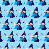 Seamless kids make a wish magic wizard illustration background pattern in vector