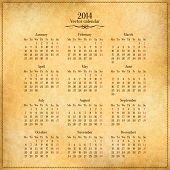 Vector 2014 calendar template on old vintage paper