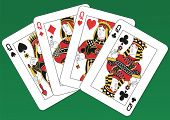 Fours Queens playing cards on a green background