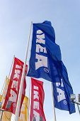 Samara, Russia - March 9, 2014: Ikea Flags Against Sky At Ikea Samara Store. Ikea Is The World's Lar