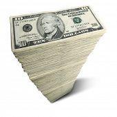 Stack of ten-dollar bills on white background