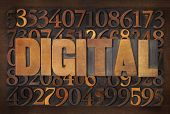digital word in vintage letterpress wood type against random number background