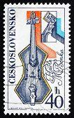 Postage Stamp Czechoslovakia 1974 Violin, By Martin Benka