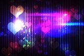 Cool nightlife design with hearts with light