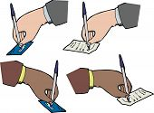Hands Signing Receipts