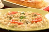 Macaroni, Mushroom & Baby Corn in White Sauce