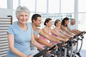 Group portrait of happy people working out at exercise bike class in gym