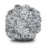 crumpled ball of aluminum foil on white