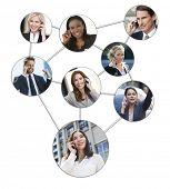 Team communication montage of interracial successful business men and women using mobile cell phones to social network