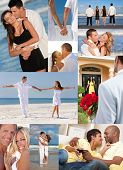 Montage of happy, romantic, mixed race couples enjoying a relaxing lifestyle, at beach embracing, ho