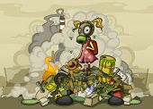 Child in a gas mask standing on a pile of garbage