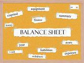 Balance Sheet Corkboard Word Concept