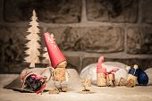 image of midget  - Concept Santa Claus with presents wine cork figures - JPG