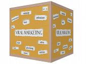 Viral Marketing 3D Cube Corkboard Word Concept