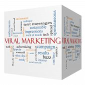 Viral Marketing 3D Cube Word Cloud Concept